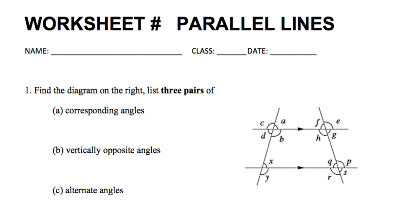WORKSHEET: PARALLEL LINES with Answer Key – Math Medicine